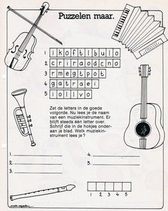 Muziekinstrumenten (puzzelblad)