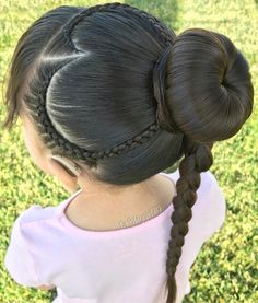 """✨""""Compassion is the wish to see others free from suffering. Braided heart 💗a bun and a 4 strand round braid. Kids Braided Hairstyles, Creative Hairstyles, Cute Hairstyles, Straight Hairstyles, Little Girl Haircuts, Little Girl Braids, Girls Braids, Toddler Braids, Toddler Hair"""