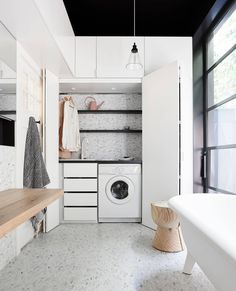 If space is at a premium, then consider the trend of a small European laundry. With European laundry ideas, inspiration & design tips, we will ensure you are on the right path for an efficient small modern laundry. Laundry Bathroom Combo, Laundry Cupboard, Laundry Tubs, Laundry Room Organization, Concealed Laundry, Hidden Laundry, Small Laundry, European Laundry, Meme Design