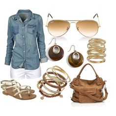 Chambray Button-Down with White Shorts & Brown Accessories