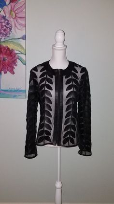 NEW Auth BAGATELLE COLLECTION Black Leather Leaf & Sheer Netting Jacket Size L | Clothing, Shoes & Accessories, Women's Clothing, Coats & Jackets | eBay!