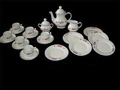 VINTAGE 23 PCS CHILD'S/MINIATURE CHINA TEA SET-GERMANY-RED/ BLUE FLOWERS-6 PLACE | eBay