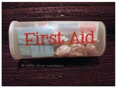 Little Dove Creations: pioneer trek: travel first aid kits. Small and simple kits kept in empty Crystal Lite containers. Great reuse!