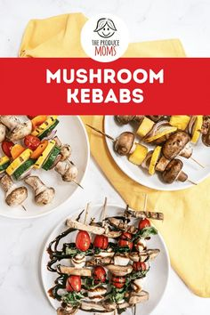 Looking to bring some variety to your next meal, these Mushroom Kebabs are just the recipe you're looking for! With three different skewers: Rainbow Kebabs, Teriyaki Kebabs, and Mushroom Caprese Kebabs everyone is bound to find their favorite. Save this incredibly delicious and healthy reciepe for 3 unique flavors from The Produce Moms. Appetizer Recipes, Appetizers, Kebabs, Skewers, Yellow Squash And Zucchini, Mushroom Recipes, Grilling Recipes, Summer Recipes, Family Meals