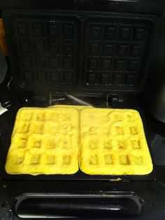 scrambled eggs in the waffle iron... GENIUS