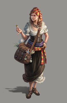 Female Traveling Merchant - Pathfinder PFRPG DND D&D d20 fantasy