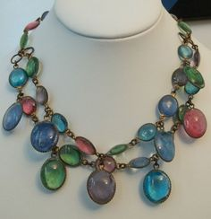 Vintage Pored Glass Bib Necklace Very Early Bezel Set Art Deco Art Glass Unique | eBay