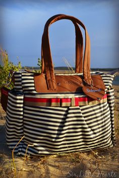 A Babymel Cara in Navy Stripe, Baby Bag Review - Now available in Australia!