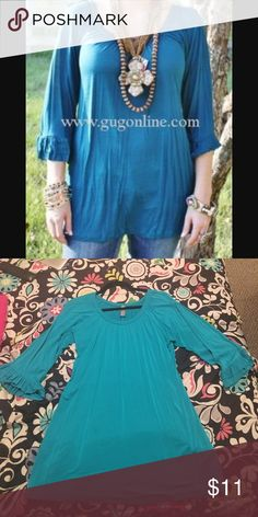 Boutique Top 3 quarter length Ruffle sleeves. Great for Fall or winter! Can match with cute scarves or other accessories! Fits loose Giddy Up Glamour Tops Tunics