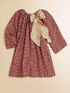 Little Girl's Silk Polka Dot Dress