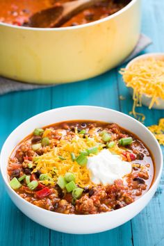 Spiked with cayenne, this addictive chili recipe is easy enough to throw together on a weeknight. Get the recipe from Delish.