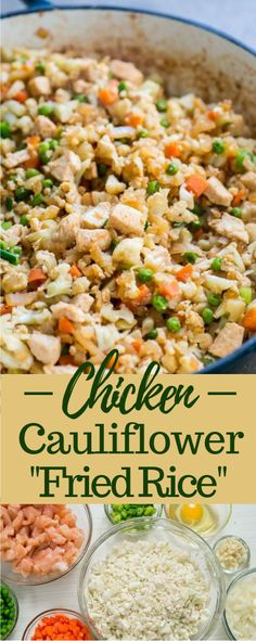 "CHICKEN CAULIFLOWER ""FRIED RICE"" - - The wonder of this equation is that there's no rice by any stretch of the creative energy! The ""rice"" part is cauliflower and when sliced pretty much nothing, the little bits of cauliflower resembles the ""rice"". How To Cook Cauliflower, Frozen Cauliflower Rice, Cauliflower Recipes, Chicken Rice Recipes, Rice Recipes For Dinner, Keto Chicken, Chicken Salad, Vegetable Fried Rice, Kitchens"