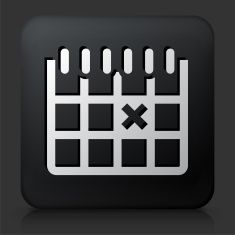 Black Square Button with Calendar vector art illustration