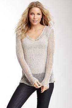 Open Knit Scoop Neck Sweater
