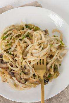 Garlic Mushroom and Leek Turnip Noodles