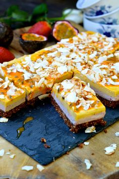 #Vegan Passionfruit and Strawberry Slice (gluten-free) @ For My Senses.