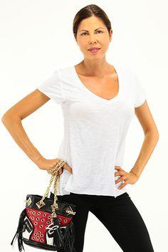 American Vintage - T-Shirts - Abbigliamento - T-Shirt in cotone con scollo a V e manica corta. - BLANC - € 45.00