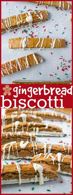 These gingerbread biscotti are baked twice and then dipped in almond bark. The perfect accompaniment to your coffee or hot chocolate! And they make great food gifts, too! Christmas Goodies, Christmas Desserts, Christmas Treats, Holiday Treats, Holiday Recipes, Christmas Recipes, Dinner Recipes, Christmas Gingerbread, Bar Recipes