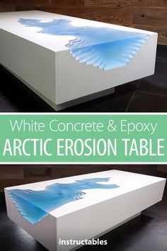 "White Concrete & Epoxy ""Arctic Erosion"" Table Build a coffee table from epoxy resin and white concrete to create an arctic erosion design. Resin Furniture, Concrete Furniture, Concrete Art, White Concrete, Diy Furniture Projects, Cool Furniture, Polished Concrete, Furniture Design, Epoxy Concrete Sealer"