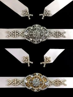 Art Deco Bridal Sash Belt, Victorian Vintage Glamor Wedding Gown Accessory, Silver or Gold, COUNTESS (1 piece)
