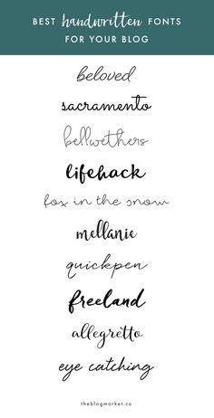 Best Handwritten Fonts For Your Blog