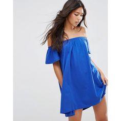 ASOS Off Shoulder Mini Dress ($25) ❤ liked on Polyvore featuring dresses, brightblue, blue mini dress, cotton jersey, jersey dress, blue jersey dress and blue dress