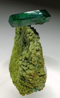 Dioptase (Darker Green,cyclosilicate mineral) on mottramite(Phosphate Class ), Namibia