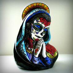 Ceramic Planter Tattoos Day of the Dead Sugar Skull Mary Vase Painted Sacred Heart Mexican Folk Art Dia De Los Muertos