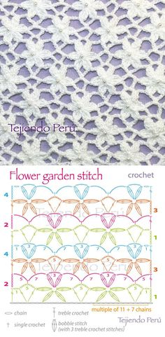 Flower stitch may have bunches of uses, but the most important thing is that they beautify all the crochet works. This flower stitch is just stunning. Crochet Diy, Crochet Unique, Beau Crochet, Crochet Stitches Free, Crochet Motifs, Treble Crochet Stitch, Crochet Diagram, Crochet Chart, Crochet Squares