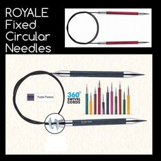 NEW ROYALE  - Fixed Circular Needles with 360 deg. Swivel cables Coloured Wooden needles with brass tips by MagpieLaneCrafts on Etsy