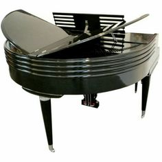 Art Deco Black Lacquered Wurlitzer Butterfly Piano 1939