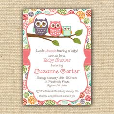 Owl Baby Shower Invitations - DIY Printable Baby Girl Shower Invitations