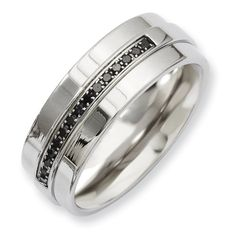 Chisel Stainless Steel Polished Black Diamond Ring $159