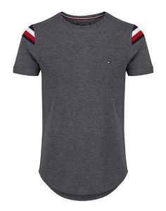 - Grey Donny Crew Neck T-shirt - Two hone, grey and black - Crew neck - Short sleeves - Curved hem - Tommy Hilfiger flag to chest - Signature stripe to shoulders - 75% Cotton, 25% Polyester - Machine washable