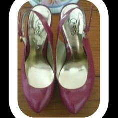 "Carlos Santana beautiful raspberry heels Striking raspberry patent leather heel. (5"")  These shoes have been gently worn. Carlos Santana Shoes Heels"