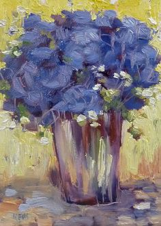 Blue Hydrangeas Floral  6x8 Original Oil by Karen Margulis