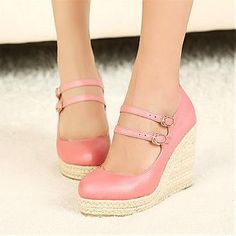 Top Quality Pink PU Round Closed Toe Wedge High Heel Wedges