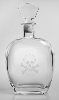 Our Skull and Cross Bones 44 oz. Whiskey Decanter is perfect to serve or store cognac or single malt Scotch whiskey at your next pirate themed party! Deeply sand etched with our Skull & Cross Bones on Whiskey Or Whisky, Whiskey Decanter, Scotch Whiskey, Liquor Bottles, Perfume Bottles, Girls Night Drinks, Rum, Bottle Tattoo, Bottle Design