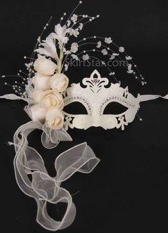 LASER CUT VENETIAN MASK masquerade rhinestone OFF WHITE Asian WEDDING flowers