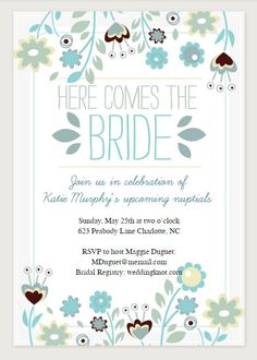 13 Bridal Shower Templates That You Won't Believe Are Free: Here Comes the Bride Printable Bridal Shower Invitation from Greetings Island
