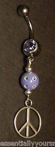 Purple & Silver Navel Belly Ring BODY JEWELRY Peace Sign Charm US Seller