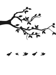 Ramo e aves voando