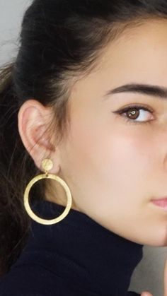 Circle Earrings, Gold Round Earrings, Gold Modernist Earrings, Minimalist Gold Earrings, Hoop Drop E - Women's style: Patterns of sustainability Circle Earrings, Round Earrings, Crystal Earrings, Crystal Jewelry, Gold Earrings For Women, Gold Statement Earrings, Rare Crystal, Jewelry For Her, Women's Jewelry