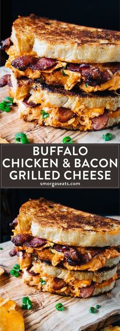 Shredded chicken, hot buffalo sauce, bacon, and cheddar cheese pressed between two crispy and toasted bread. Best sandwich ever! chicken dinner Hot Buffalo Chicken and Bacon Grilled Cheese - Smorgaseats Grilled Sandwich, Soup And Sandwich, Chicken Sandwich, Hot Sandwich Recipes, Grilled Cheese Recipes, Grilled Cheese Sandwiches, Sandwiches For Dinner, Grilled Chicken Burgers, Vegan Sandwiches
