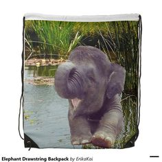 """Elephant Drawstring Backpack . 100% polyester. Dimensions: 14.75"""" x 17.3""""."""