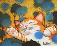 THE-PEACEFUL-CAT-Raphael-VAVASSEUR-Peinture-Originale-Original-Painting