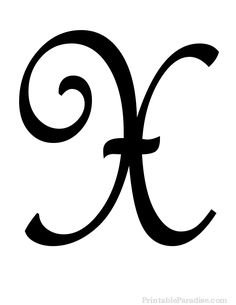 Printable Letter X in Cursive Writing