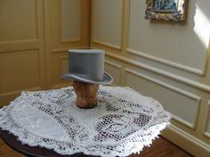 Dollhouse Miniature Men's Gray Top Hat Artist Piece | eBay