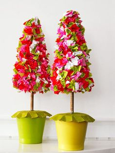 Tissue Paper Trees  Here's how: Cut tissue paper into 2-inch squares and gently crumple. Starting at the top of a styrofoam topiary form, attach each piece with styrofoam glue. Working around the form, affix the pieces close together, mixing up the colors as you go. Place your topiaries in ceramic flowerpots.