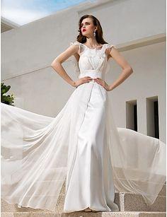 Wedding Dress A-line/Princess Spaghetti Straps Sweep/Brush Train Chiffon Dress – USD $ 159.99